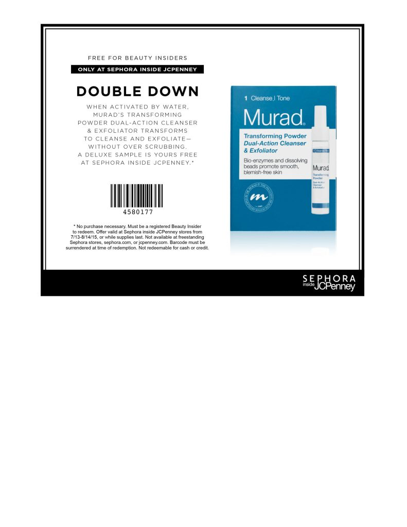 Free Murad CLeanser For Beauty Insiders at Sephora Inside Jcpenney