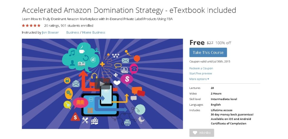 Free Udemy Course on Accelerated Amazon Domination Strategy - eTextbook Included