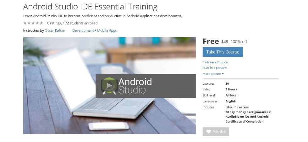 Free Udemy Course on Android Studio IDE Essential Training
