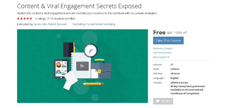 Free Udemy Course on Content & Viral Engagement Secrets Exposed