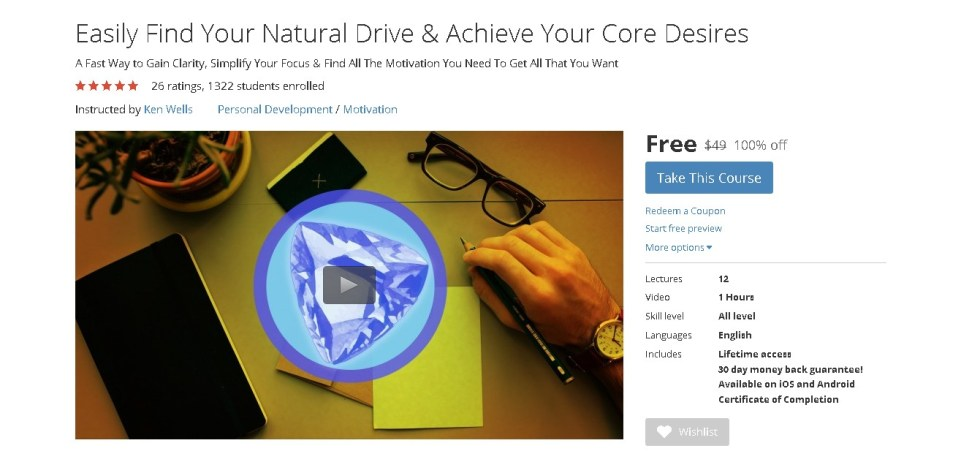 Free Udemy Course on Easily Find Your Natural Drive & Achieve Your Core Desires