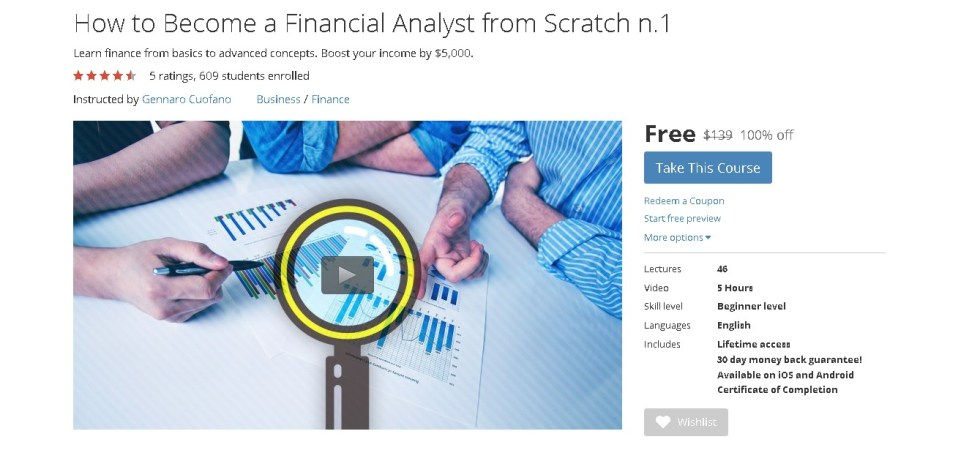Free Udemy Course on How to Become a Financial Analyst from Scratch n.1
