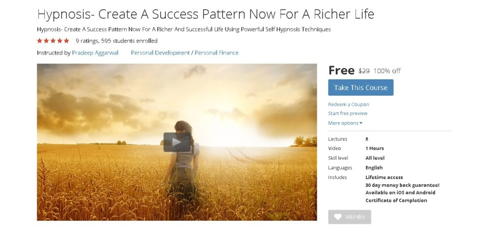 Free Udemy Course on Hypnosis- Create A Success Pattern Now For A Richer Life