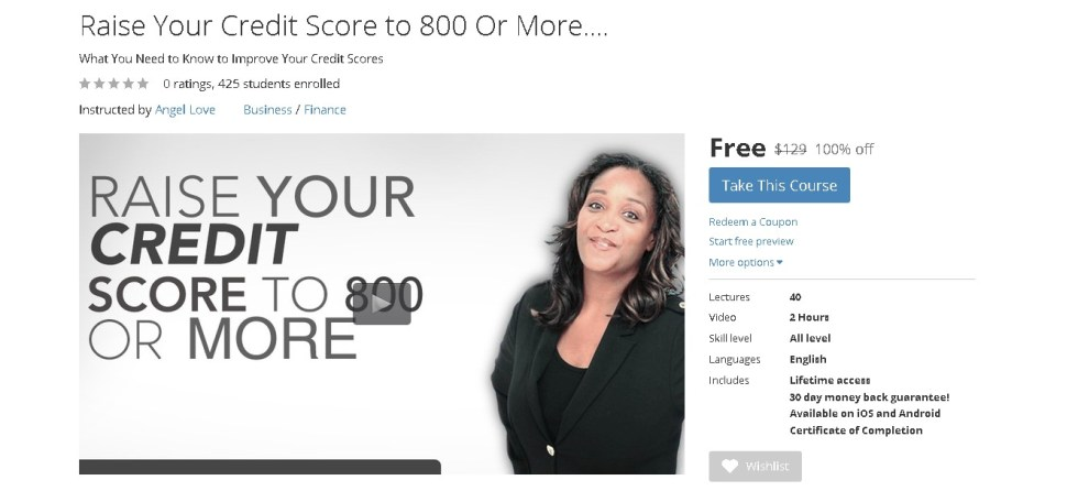 Free Udemy Course on Raise Your Credit Score to 800 Or More....