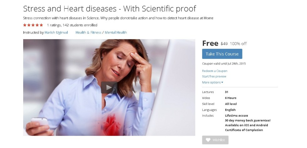 Free Udemy Course on Stress and Heart diseases - With Scientific proof