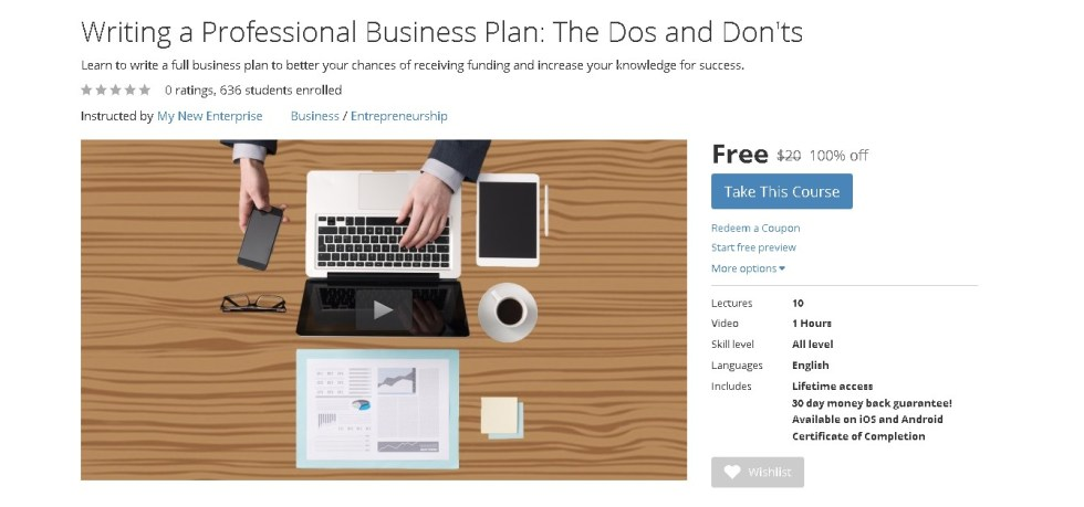 Free Udemy Course on Writing a Professional Business Plan The Dos and Don'ts