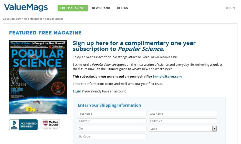 Free one year subscription to Popular Science