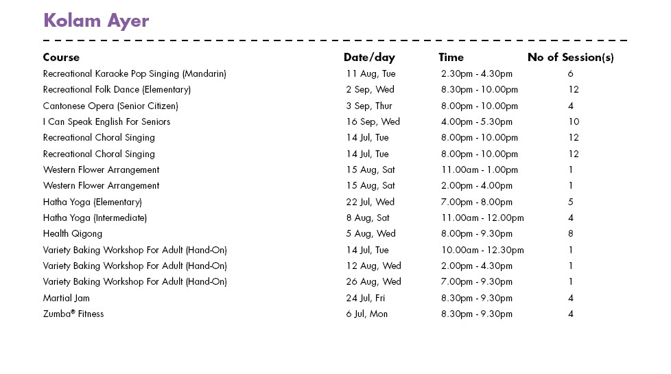 In Celebration of SG50 & PA Community Day Free Courses at Kolam Ayer CC Singapore
