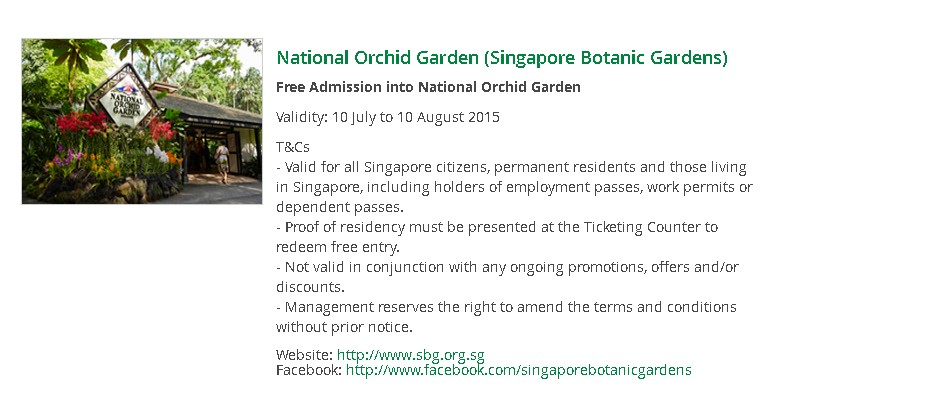 SG50 Treats for You Free Admission into National Orchid Garden