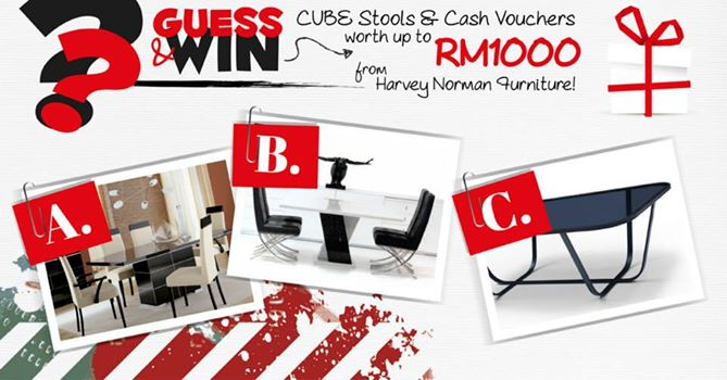 Win Cube Stools & Cash Vouchers Worth RM1000 at Harvey Norman Malaysia
