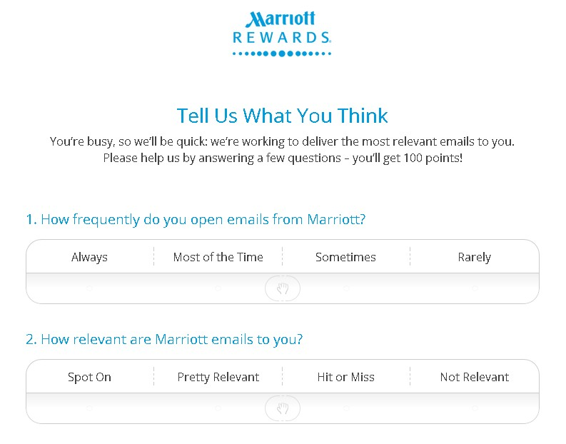 FREE 100 points at Marriott Rewards Form