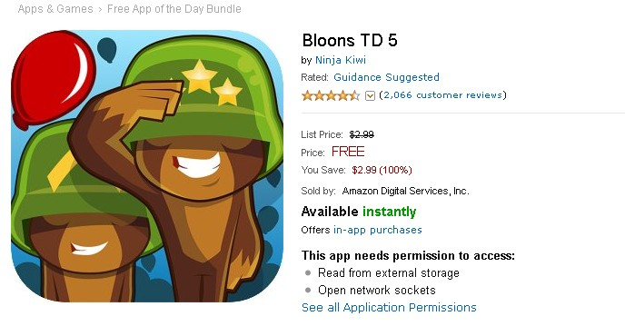 FREE Android Game at Amazon Bloons TD 5 1