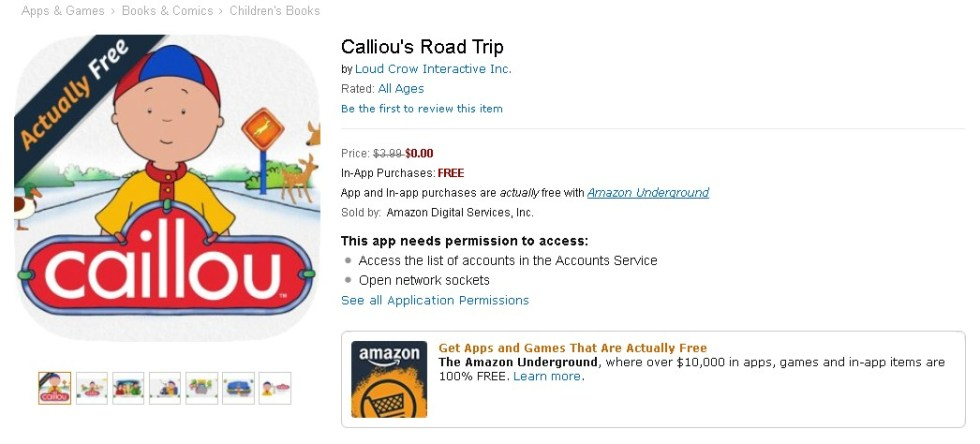 FREE Calliou's Road Trip at Amazon