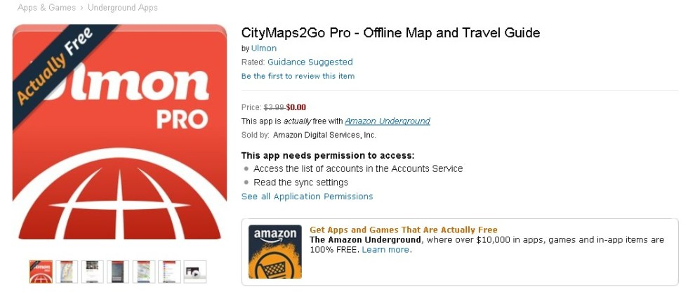 FREE CityMaps2Go Pro - Offline Map and Travel Guide at Amazon