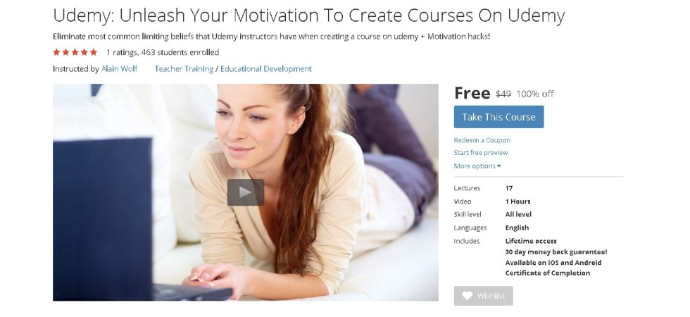 FREE Course Unleash Your Motivation To Create Courses On Udemy