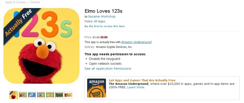 FREE Elmo Loves 123s at Amazon