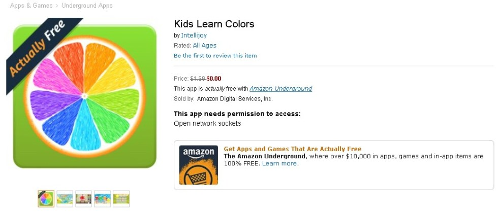 FREE Kids Learn Colors at Amazon 1