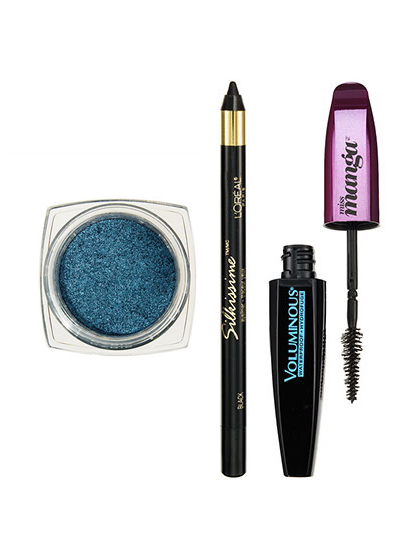 FREE L'Oréal Paris Infallible Eye Shadow in Timeless Blue Spark, Silkissime Eyeliner in Black, and Voluminous Miss Manga Waterproof Mascara at Allure USA