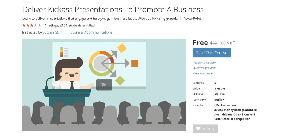 FREE Udemy Course on Deliver Kickass Presentations To Promote A Business
