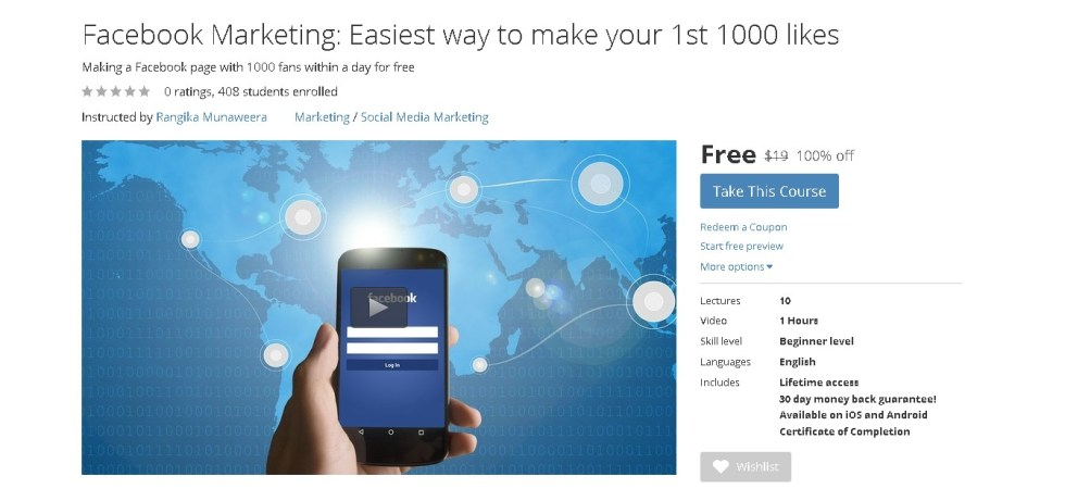 FREE Udemy Course on Facebook Marketing Easiest way to make your 1st 1000 likes