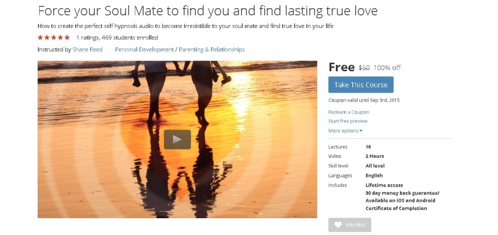 FREE Udemy Course on Force your Soul Mate to find you and find lasting true love 1