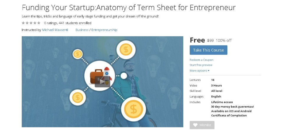 FREE Udemy Course on Funding Your StartupAnatomy of Term Sheet for Entrepreneur