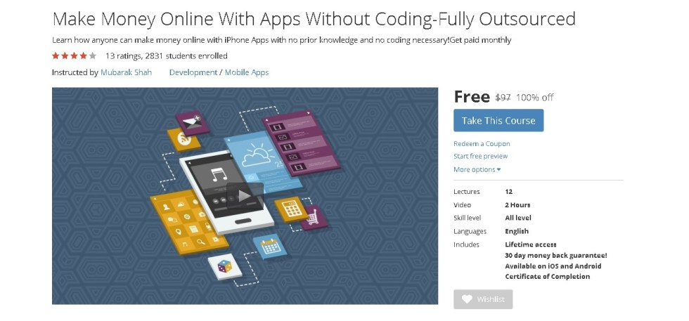 FREE Udemy Course on Make Money Online With Apps Without Coding-Fully Outsourced