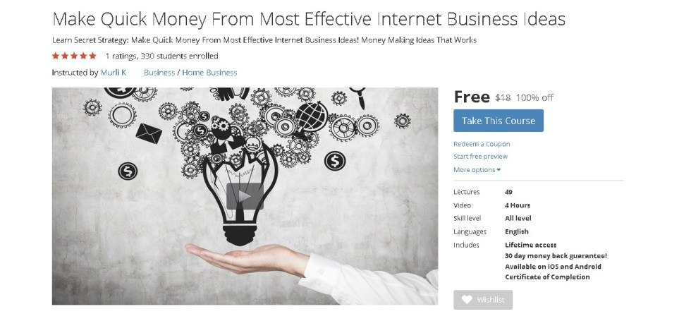 FREE Udemy Course on Make Quick Money From Most Effective Internet Business Ideas