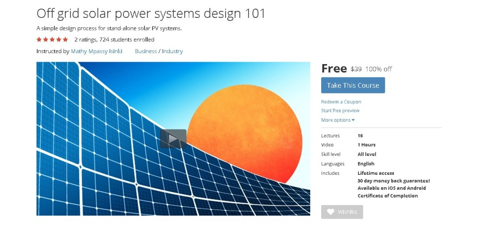 FREE Udemy Course on Off grid solar power systems design 101 (2)