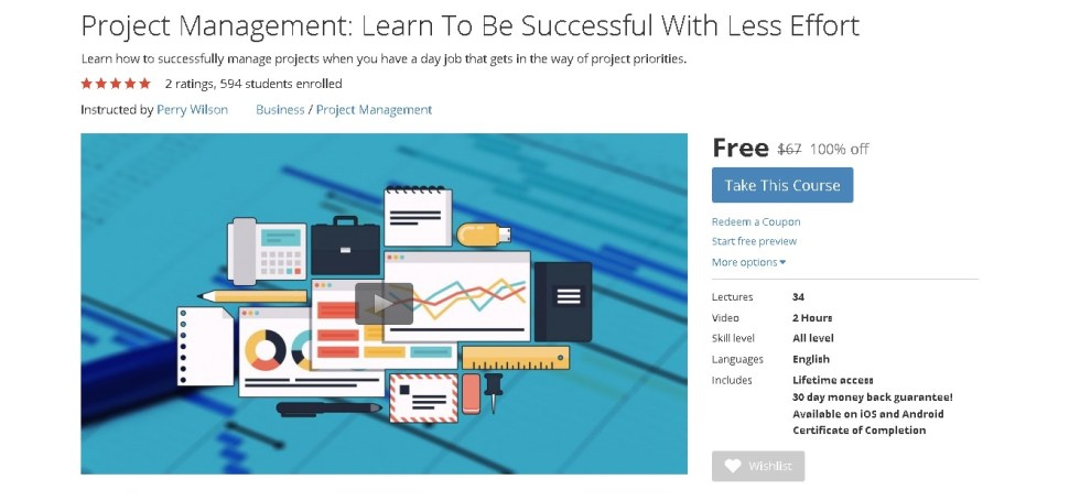 FREE Udemy Course on Project Management Learn To Be Successful With Less Effort 1