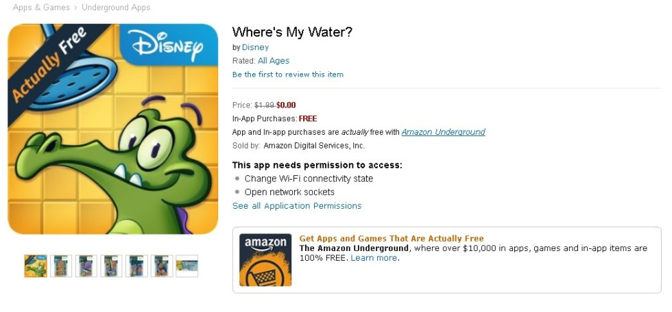 FREE Where's My Water Game at Amazon 1