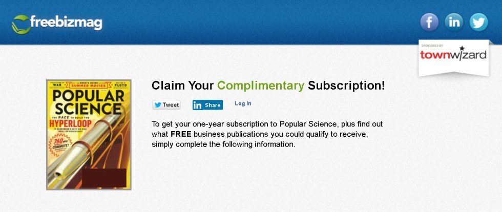 FREE one-year subscription to Popular Science Magazine at Freebizmag 1