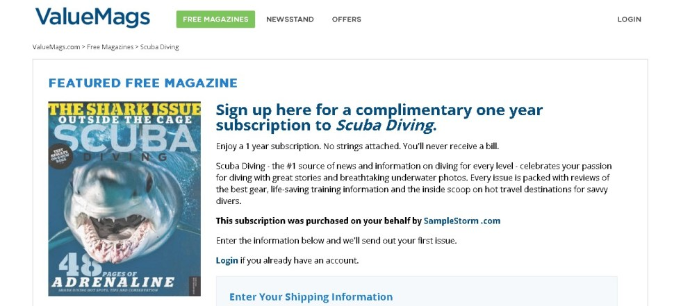 FREE one year subscription to Scuba Diving Magazine 1