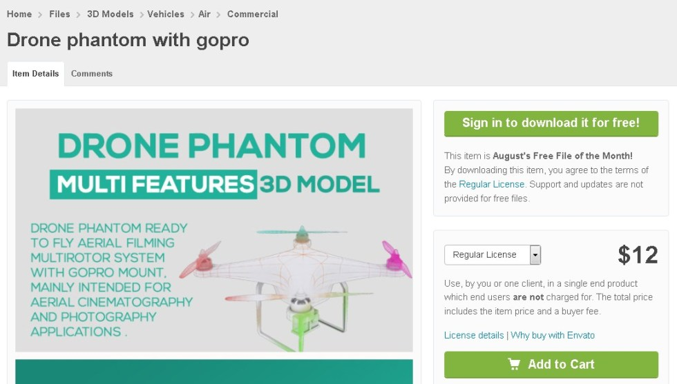 Free 3D Models Drone phantom with gopro at 3D Ocean (2)