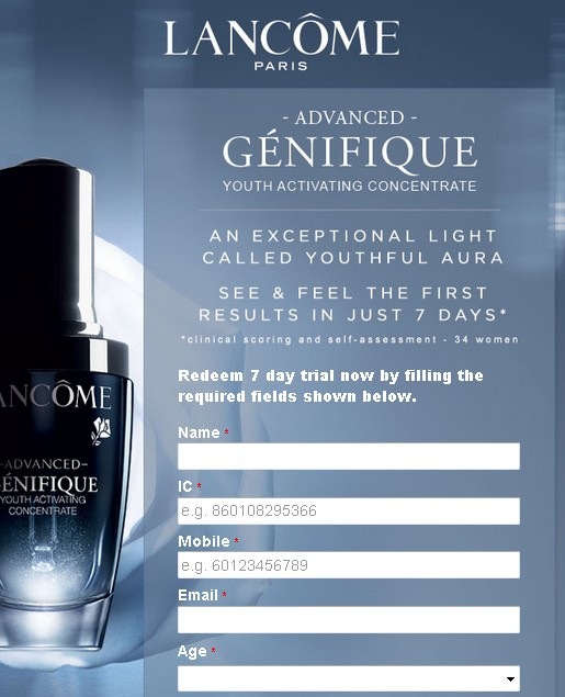 Free 7 Day Trial Lancome Paris Advanced Genifique Youth Activating Concentrate