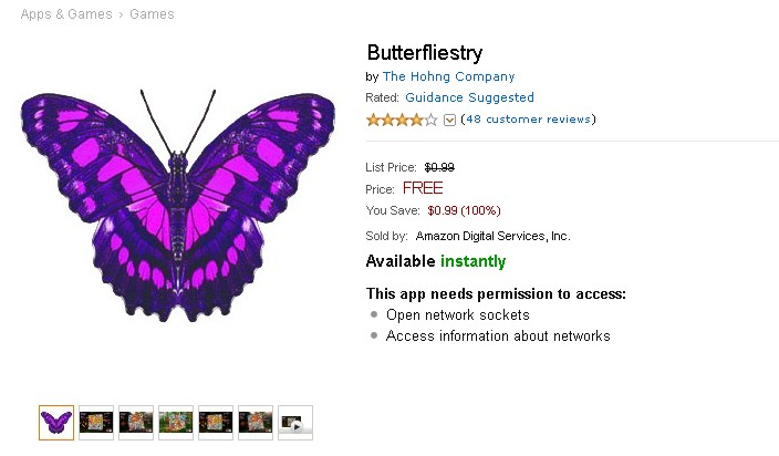 Free Android App @ Amazon Butterfliestry 1