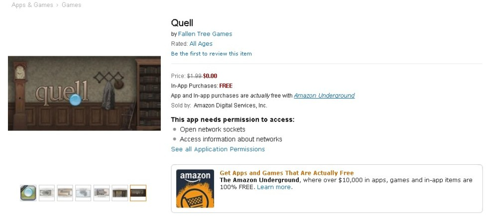 Free Android Game at Amazon Quell