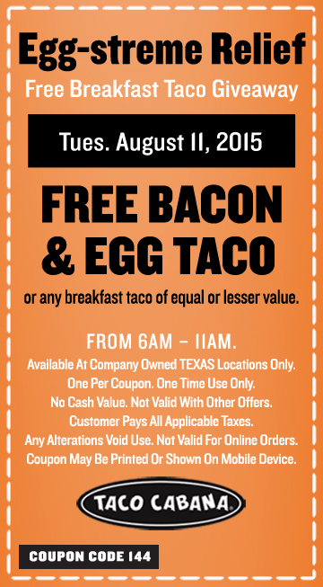 Free Breakfast Taco Giveaway at Taco Cabana