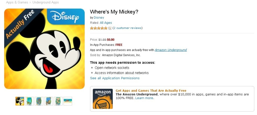Free Game at Amazon Where's My Mickey