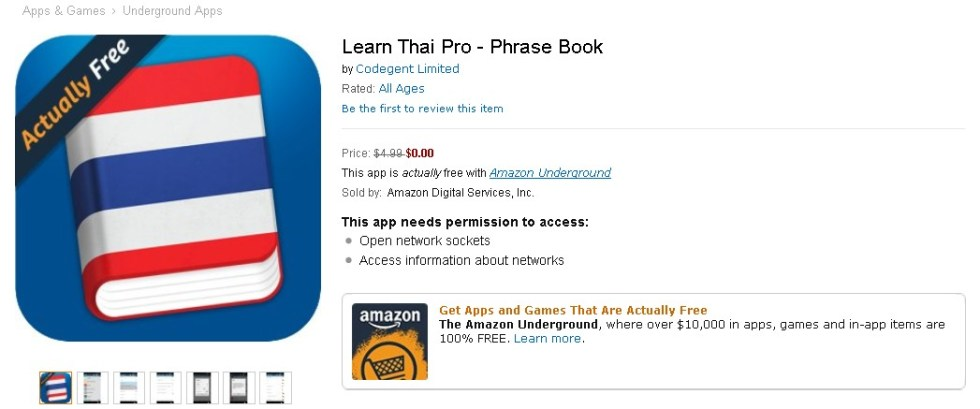 Free Learn Thai Pro - Phrase Book at Amazon