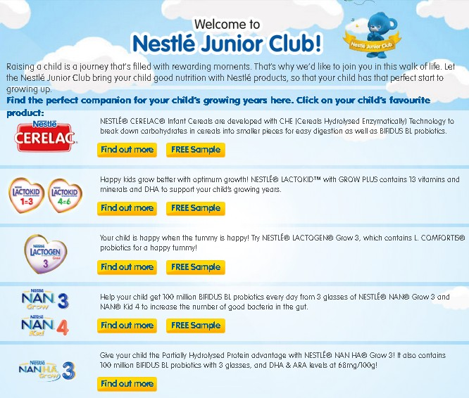 Free Sample at Nestle Junior Club Malaysia