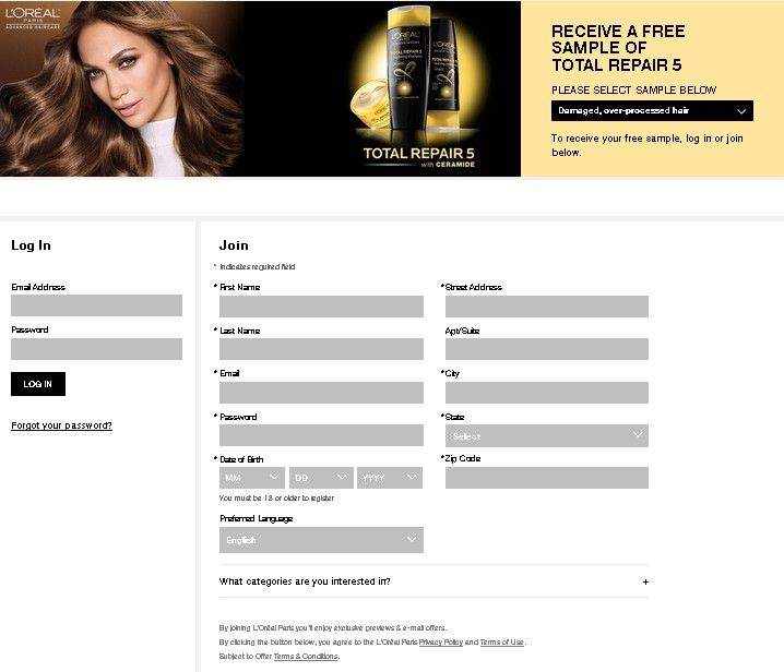 Free Sample of Loreal Total Repair 5 1