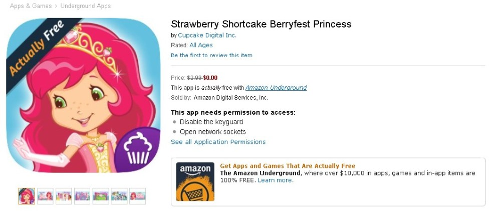 Free Strawberry Shortcake Berryfest Princess at Amazon