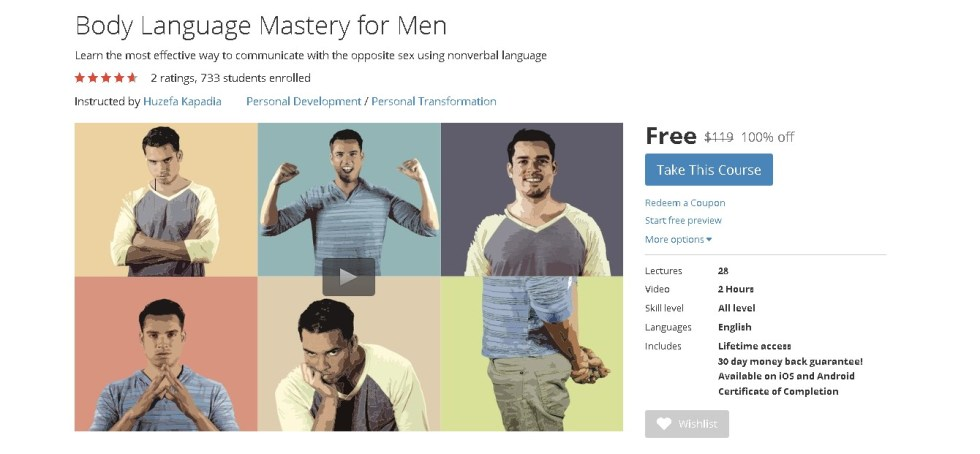 Free Udemy Course on Body Language Mastery for Men 1