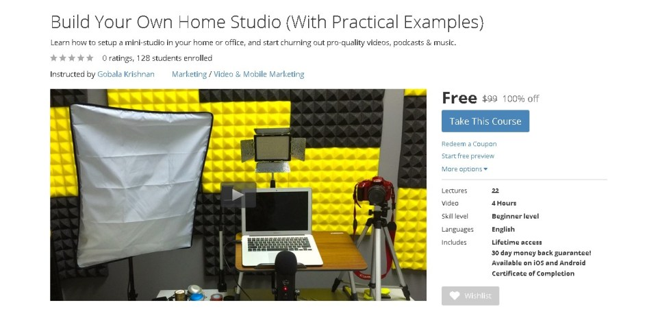 Free Udemy Course on Build Your Own Home Studio (With Practical Examples)  (2)