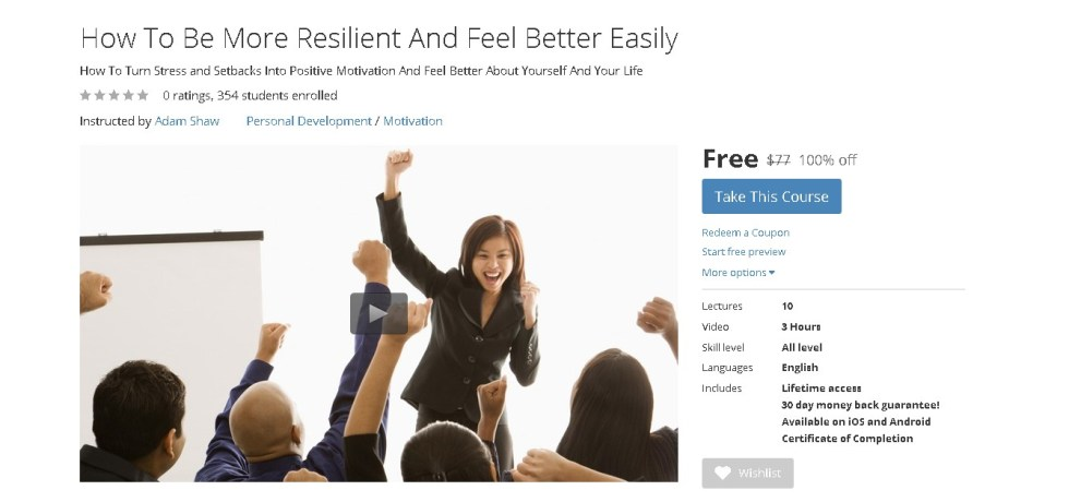 Free Udemy Course on How To Be More Resilient And Feel Better Easily