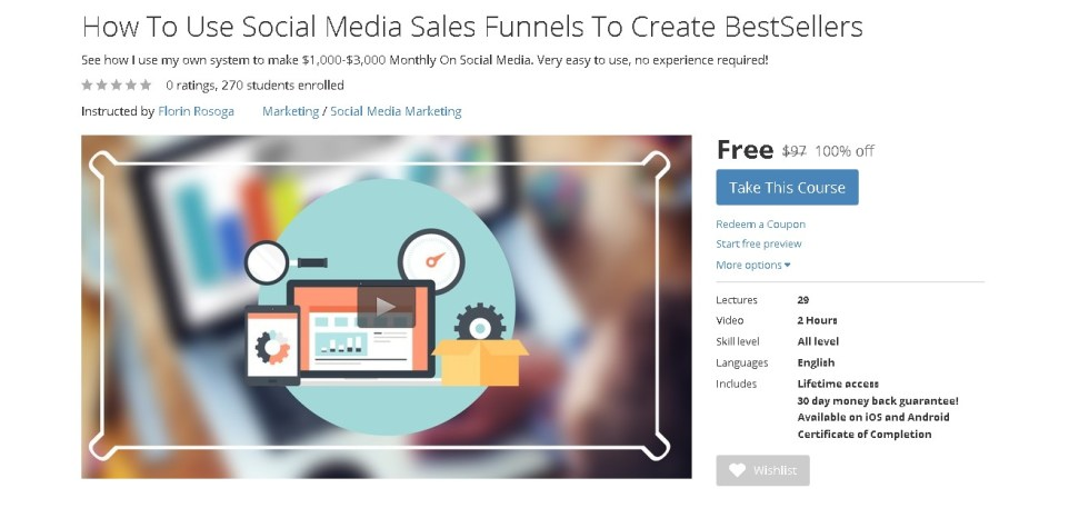 Free Udemy Course on How To Use Social Media Sales Funnels To Create BestSellers