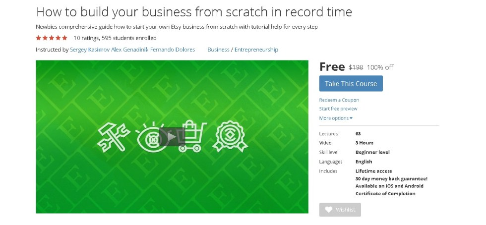 Free Udemy Course on How to build your business from scratch in record time