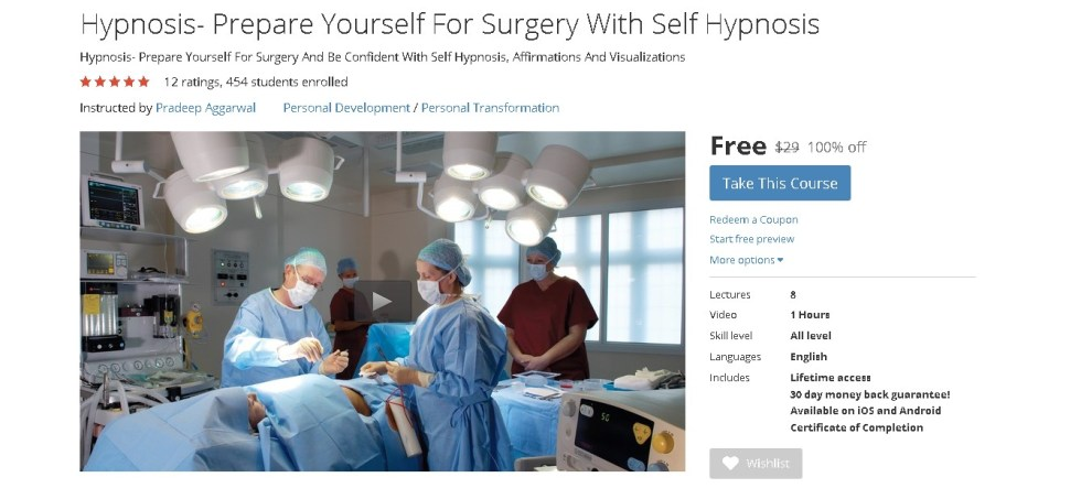 Free Udemy Course on Hypnosis- Prepare Yourself For Surgery With Self Hypnosis