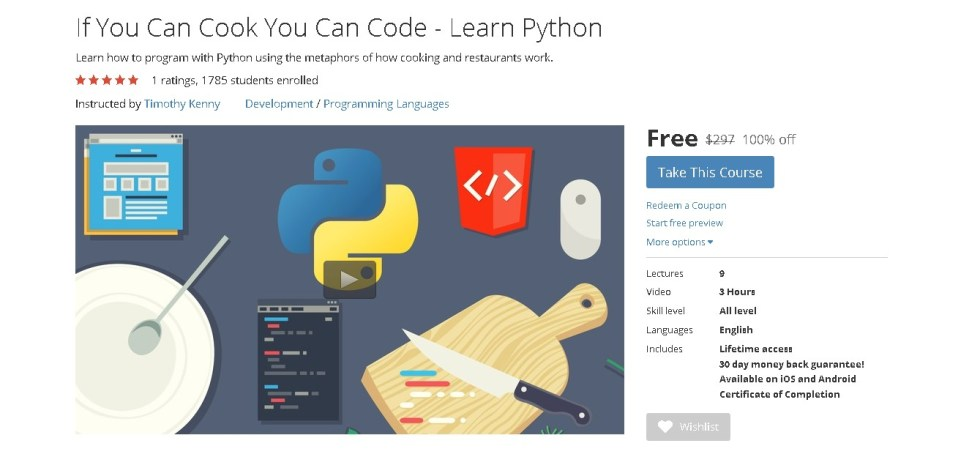 Free Udemy Course on If You Can Cook You Can Code - Learn Python